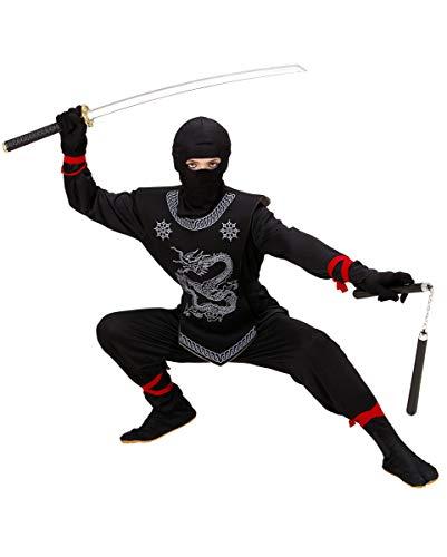Horror-Shop Schwarzes Ninja Kinderkostüm mit Drachen Print für Fasching M / 8-10 ()
