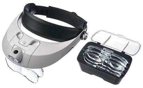 Kurtzy 2 LED Kopfbandlupe Lupenbrille Stirnband Lupe mit 5 Linsen und 3 x AAA Batterien -...
