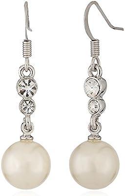 joyen chapado en oro blanco perla pendientes largos circonita Embedded