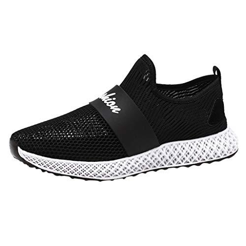 Anglewolf Herren Laufschuhe Fitness Sneaker Sportschuhe Leichtes rutschfeste Mode Freizeitschuhe Running SchnüRer Trainers Turnschuhe Sneakers(Schwarz,41 EU) -