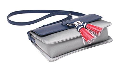 FZHLY Lady Tassel Nylon Buoi Panno Mini Bag,DarkBlueWithRed WhiteWithDarkBlue