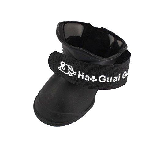 Ukamshop Hund Bonbon Farbe wasserdicht Haustier Pfotenschutz Stiefel Schuhe Hundeschuhe (M, schwarz)