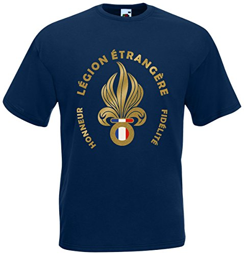 AkyTEX Fremdenlegion Frankreich Légion Étrangère T-Shirt Fanshirt (Navyblau, XXL)