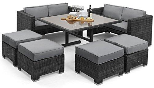 Maze Rattan Cube Sofa-Set in einer gemischten grau Weave (Wicker Wetter Dining Alle)