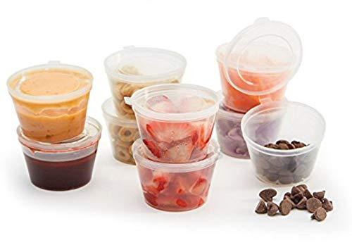 Scharnierdeckel klarer Kunststoff wiederverwendbare Sauce Container | Tassen/Topf/Wanne/Deli/alle Arten (Qty. 1/2 oz. (60 ml ca.)) -