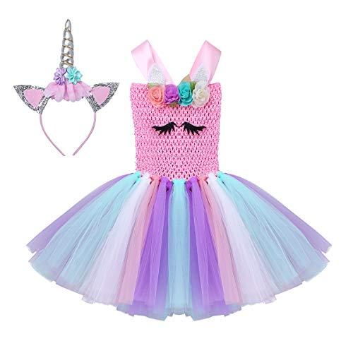 YiZYiF Mädchen Einhorn Kostüm Pailletten Tüll Kleider