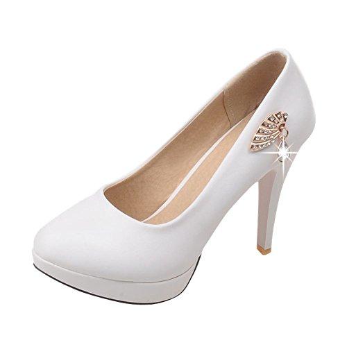 Mee Shoes Damen modern elegant runder toe mit Strass Metall-Dekoration Trichterabsatz Plateau Pumps Weiß