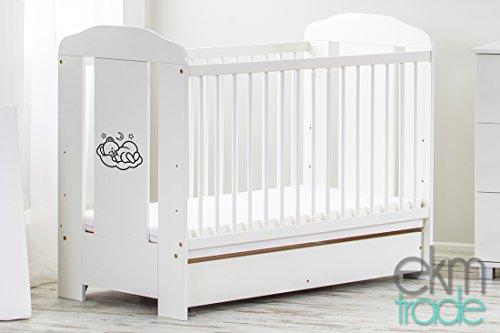 Weiß 120 x 60 cm BABYBETT mit Schublade Gitterbett Kinderbett ekmTRADE