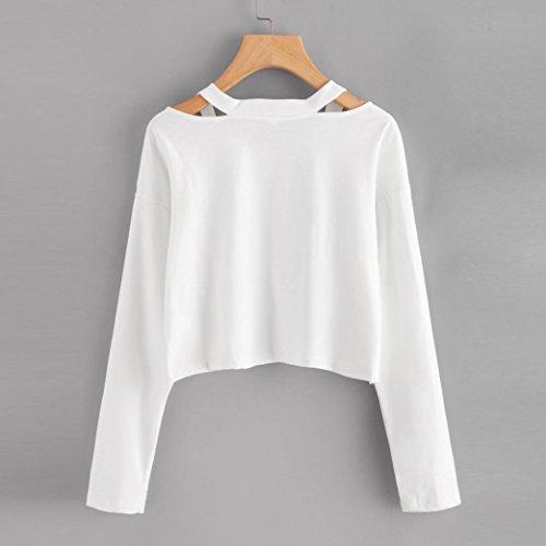 Lenfesh - Sweatshirt Femme - Chemisier à manches longues imprimé Lettre rosec - Hauts causals - Multicolore Blanc