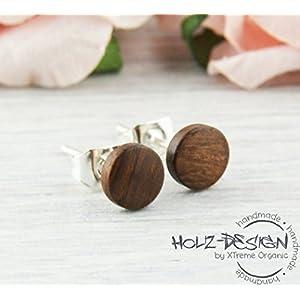 Ø6mm Holz Ohrstecker dunkelbraun Mini Kleine Fake Plugs Ohrringe braune hölzerne Mini Ohrring kleine runde Holzohrstecker wooden earrings wood post studs