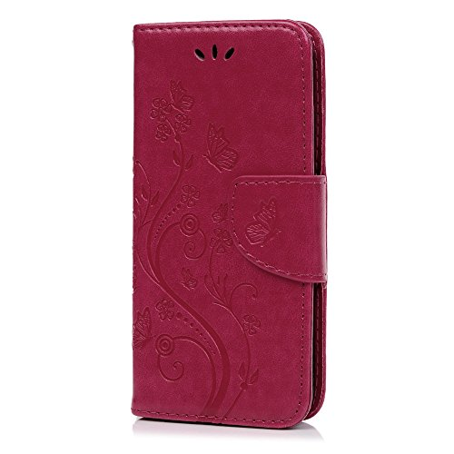 Lanveni Iphone 6G Plus Iphone 6S Plus 3 en 1 Coque de Protection - Housse Étui en [PU Cuir][Portefeuille Support Flip][Fermeture Aimantée] Phone Case pour Iphone 6G Plus Iphone 6S Plus +[Stylo Capacit Rose Foncé