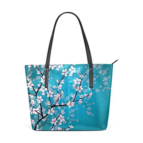 XiangHeFu Damen Handtaschen Sakura Flower im japanischen Stil Tote PU Leder (Charms Für Japanische Telefon)