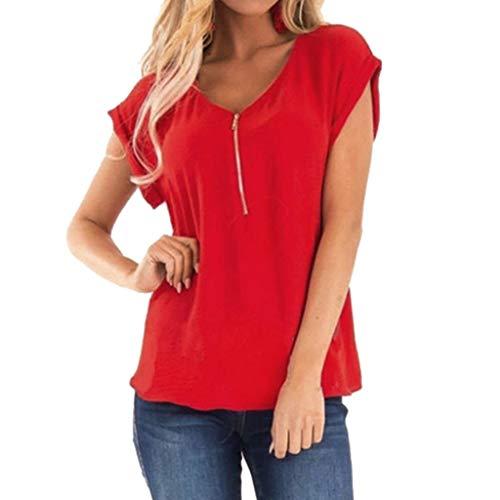 Longras T-Shirt Damen Blusen Elegante Reißverschluss T-Shirt Tops Bluse Oberteile T-Shirt V-Ausschnitt Tops Stitching Solid Cup Ärmeln Oansatz Elegant Tops Damen -