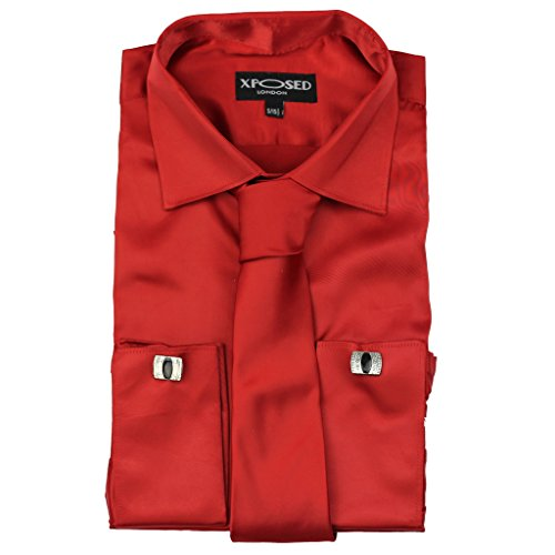 Xposed Mens Satin Silky Feel Smart Casual Double Cuff Wedding Party Formal Dress Shirt - Slim Fit
