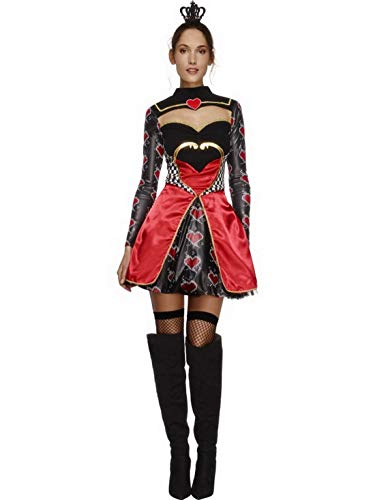 Of Hearts Queen Kostüm Frauen - Halloweenia - Damen Frauen Herz Königinnen Kostüm Kartenkönigin Queen of Hearts, kurzes Ballkleid mit Krone, perfekt für Karneval, Fasching und Fastnacht, S, Rot