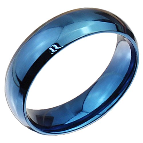 Unisex anelli in acciaio inox Classic Fedeli Wedding Bands Blue Circle finito Dimensione 25 di AieniD - Religiosi Diamante Wedding Band