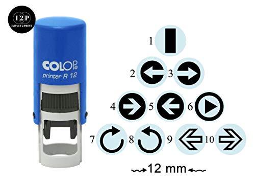 IMPACT2PRINT Freccia Mini Timbro Di Gomma Design Autoinchiostrante Colop R-12 Timbri Rotondi 12 mm