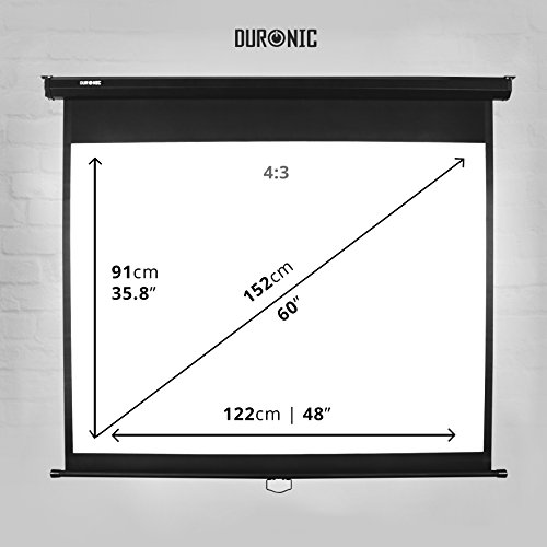Duronic MPS 60 / 43 Projektor Leinwand / Rollo – Leinwand 100 Zoll / Nutzfläche 221×125 cm / Decke oder Wand montierbar - 4