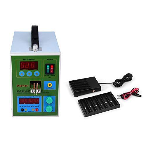 Punktschweißgerät,Spot Welder Doppelpuls Punktschweißgerät 18650 Lithium Batterie Schweißgerät Ladungstest punktschweißmaschine AC 220V,mit LED Beleuchtungsfunktion und viel Zubehör