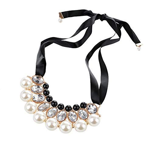 Black Lace Choker (Qiuday Damen Halskette mit Black Lace Flower Choker Necklace | Frauen Schmuck aus Edelstahl | Jewelry Beauty Ribbon Clavicle Chain Choker Halsband, Henna Halskette schwarz)