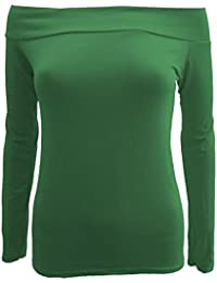 Frauen weg von den Schulter-Boot-Ausschnitt Langarm-T-Shirts Oberteile