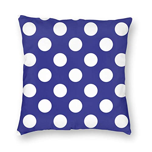 MrRui Dekorativ Kissenbezug Geometric Candy Dot Circles White On Navy Blue Dekokissen Abdeckung Dekorative Schein für Home Bed Sofa Couch 20x20 Inch 50x50cm