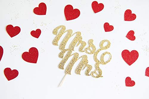 """Tortenaufsatz""""Mrs and Mrs"""", Hochzeitstag, Gleiche Sex Ehe, Gay Lesbisch, Glitzer, Party-Dekoration, Jubiläumsfeier, She Loves Me"""""""