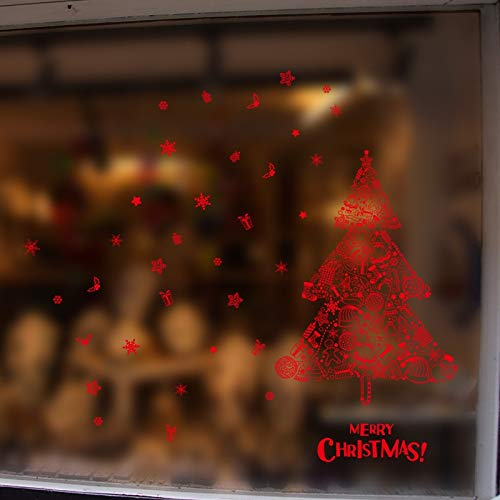 BZQTHXK Red Christmas Tree Wall Stickers New Year Christmas Party Window Glass Decor Xmas Decals -