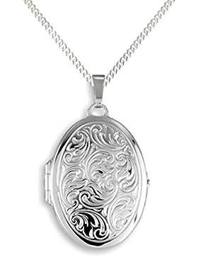 Medaillon 925 Silber Oval Anhänger + Kette