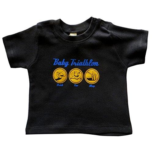 Schwarz Babyshirt (Baby Shirt - Baby Triathlon - Fun Shirt für Kleinkinder, schwarz, Biobaumwolle (80))