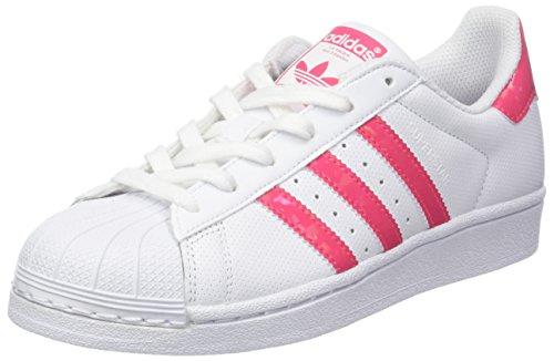 Adidas Superstar J, Scarpe da Ginnastica Basse Unisex-Bambini, Bianco Real Pink/Footwear White, 37 1/3 EU