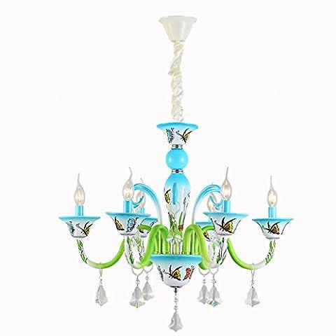 Kreative Bügeleisen Beschichtung Lampe Kerze Kinder Schlafzimmer Kronleuchter Glas Schirm 3/5/6/8 Lampe Kappe E14 Licht (nicht Tragen E14 Lichtquelle) ( Color : 6 Lamp Cap )