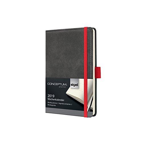 SIGEL C1958 Wochenkalender 2019, ca. A6, Hardcover, Vintage, Leder-Optik dunkelgrau, Conceptum - weitere ()