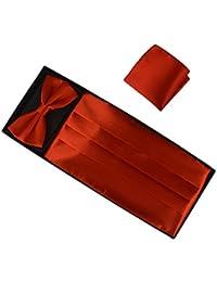 Ensemble coloré trois pièces pour Hommes inclus ceinture réglable Noeud papillon et Mouchoir de poche