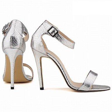 LQXZM Chaussures femmes talon aiguille talons similicuir / Open Toe Sandales Partie &AMP; Soirée / Robe / CasualBlack / bleu / violet / Silver