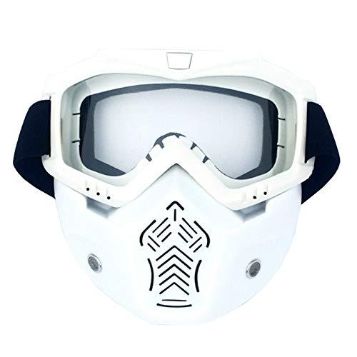 Adisaer Fahrradbrille Clear Motorradmaskenbrillenpersönlichkeit Retro Halber Sturzhelmgesichtsschutz Offroad Schutzbrillen Männer Und Frauen Ski Fahren Vertical White Transparent Damen Herren