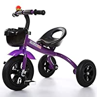 BABYGAMK Children Toddler Tricycle Tricycle 3 Wheeler Smart Design Children Bicycle Bike Boys Girls Baby Carriage Toy Car Trike Kid 3 Wheels (Color : Purple , Size : 57*68cm )