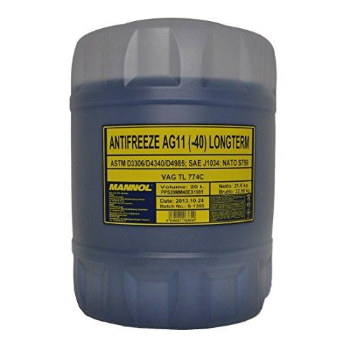 Mannol Kühlerfrostschutz AG11 - 1x20 Liter bis -40°C für G11 blau Frostschutz