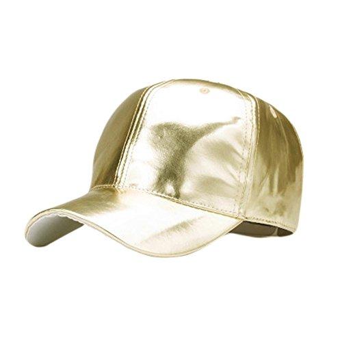 Baseball Cap PANPANY für Herren Damen Fashion Gold Lackleder Sommer Outdoor Im Freien Visor Verstellbarer Beiläufige Kappe Unisex-Baseballmütze Sport Hüte Frauen Männer Sonnenhut Sommerhut Basecap