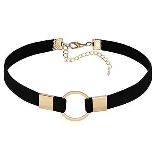 Epinki Damen Choker, Tattoo-Halskette Samt Halsband O-Ring Form Anhänger Hoker Maskenspiel Halsschmuck Gold Schwarz, (Das Orange Schwarze Kostüm Rot Kind Neue Ist)