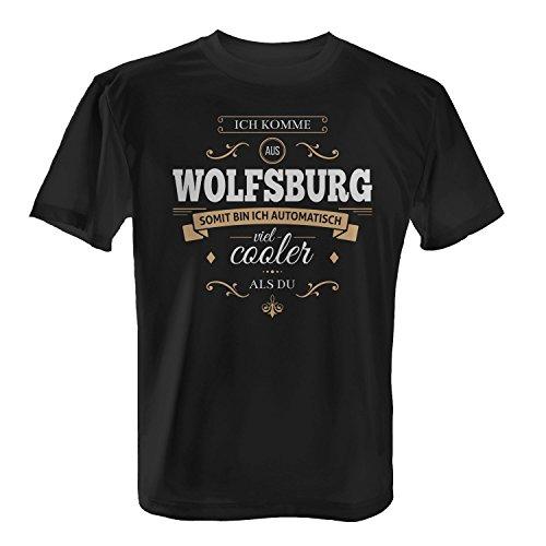 Fashionalarm Herren T-Shirt - Ich komme aus Wolfsburg somit bin ich cooler als du   Fun Shirt mit Spruch als Geschenk Idee für stolze Wolfsburger Schwarz