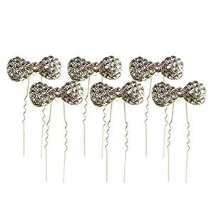 6er Set Brautschmuck Haarschmuck Strass Perlen Bowknot Schleife Knot Haarnadeln Haarspange Hair Clips für Damen Mädchen
