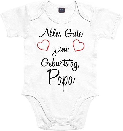 Mister Merchandise Baby Body Alles gute zum Geburtstag, Papa Strampler liebevoll bedruckt Glückwunsch Weiß, 3-6