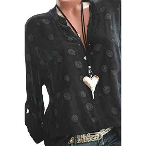 OYSOHE Frauen Plus Size Print V-Neck Langarm Polka Dot Knopf Bluse Damen Pullover Tops Shirt -
