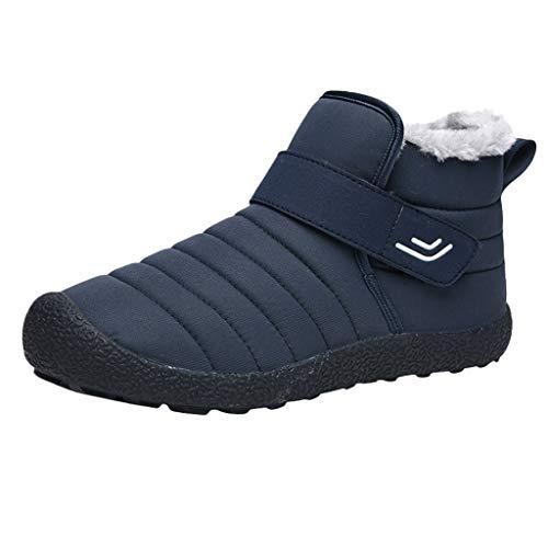 KUDICO Herren Damen Stiefeletten Schlupfstiefel Warm Gefüttert Flache Schuhe Winterstiefel Wandern Kurzer Boots Schneeschuhe Stiefel(39.5 EU, Blau)