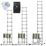 Linxor France  Échelle Télescopique Pro 2.60m, 3.20m ou 3.80m en Alu + Housse de Transport et gants de maintien - Norme EN131