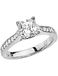 10 ct White Gold Princess Cut Proposal/Engagement Ring With Cubic Zirconia