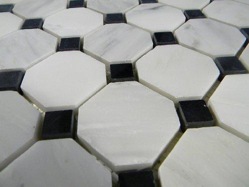 Cararra Arabescata 2 Octagon Polished with Black Dot Floor Pattern Tile by GlassTileHome Octagon Dot