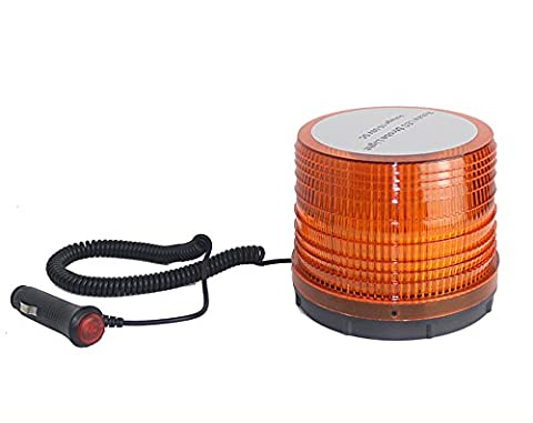Wisamic High Intensity 36W Beacon LED Strobe Light Magnetic Flash and Revolving Warning Caution Emergency Light Amber(Yellow) Color for Car Lorry Van Truck