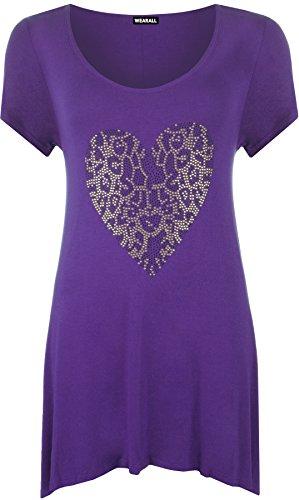WearAll - Damen Übergröße Gold Tier herz hanky saum kurzarm langes Top - 5 Farben - Größe 42-56 Violett
